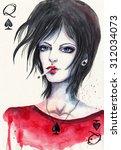 queen of spades. template of... | Shutterstock . vector #312034073