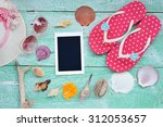 blank instant photo frames with ... | Shutterstock . vector #312053657