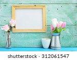 blank canvas frame hang on...   Shutterstock . vector #312061547