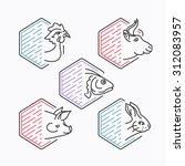 meats line icons' vector set.... | Shutterstock .eps vector #312083957