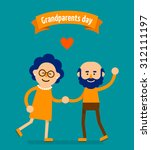 happy grandparents holding... | Shutterstock .eps vector #312111197