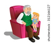 grandfather with granddaughter. ... | Shutterstock . vector #312166127