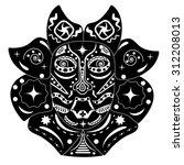 black and white mask of native... | Shutterstock .eps vector #312208013