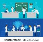scientist horizontal banner set ... | Shutterstock .eps vector #312210263