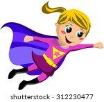 happy superhero kid flying... | Shutterstock .eps vector #312230477