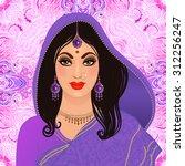 beautiful indian brunette young ... | Shutterstock .eps vector #312256247