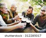 friends party outdoors... | Shutterstock . vector #312285017