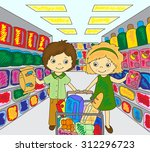 a boy and a girl are shopping... | Shutterstock . vector #312296723