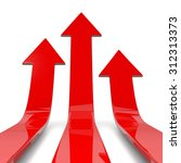three red arrows lift off 3d... | Shutterstock . vector #312313373