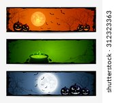 halloween banners with pumpkins ...   Shutterstock . vector #312323363