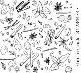 spices  vector food set  ink... | Shutterstock .eps vector #312344747