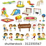 children playing and playground ... | Shutterstock .eps vector #312350567
