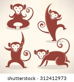 funny monkey silhouettes ...