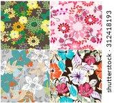 floral seamless pattern set   ... | Shutterstock .eps vector #312418193