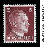 Small photo of GERMAN REICH - CIRCA 1941: A stamp printed in Germany shows image of Adolf Hitler, series, 1941.