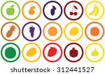 15 fruit silhouettes set in... | Shutterstock .eps vector #312441527