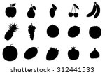 fruit silhouettes vector icon...