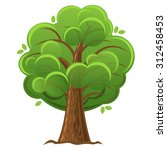 Cartoon Tree  Green Oak With...