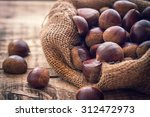 Fresh Chestnuts In Jute Sack O...