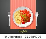 spaghetti meat ball in dish on... | Shutterstock .eps vector #312484703