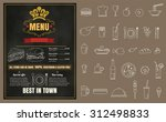 restaurant fast foods menu on... | Shutterstock .eps vector #312498833