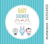 illustration of baby shower... | Shutterstock .eps vector #312512423
