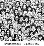 women   hand drawn seamless... | Shutterstock .eps vector #312583457