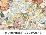 floral pattern on fabric. brown ... | Shutterstock . vector #312592643