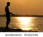 silhouette of a fisher under a... | Shutterstock . vector #31262146