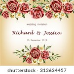 flowers and leaves rose ... | Shutterstock .eps vector #312634457