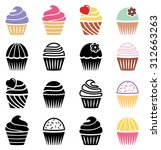 vector collection of black and... | Shutterstock .eps vector #312663263