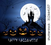 halloween night background with ... | Shutterstock . vector #312664157