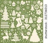 Christmas Retro Icons  Set Of...