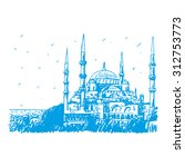 the sultan ahmed mosque or blue ... | Shutterstock .eps vector #312753773