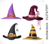 witch hats with straps and... | Shutterstock .eps vector #312767597