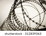 Barbed Wire Fence. Shot At...