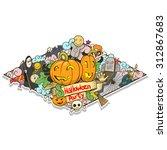 halloween design raster version | Shutterstock . vector #312867683