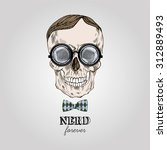 hand drawn scull in nerdy... | Shutterstock .eps vector #312889493