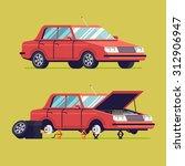 vector flat auto service... | Shutterstock .eps vector #312906947