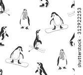 seamless pattern   penguins.... | Shutterstock .eps vector #312922253