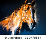 Stock photo pastel portrait of a brown horse on a cardboard modern art 312975557