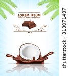 splashing chocolate. coconut in ... | Shutterstock .eps vector #313071437