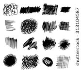 set of grunge hand drawn ink... | Shutterstock .eps vector #313104587