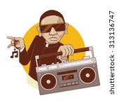 priest boy enjoying music. a... | Shutterstock .eps vector #313136747