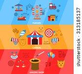 amusement park flat horizontal... | Shutterstock . vector #313185137