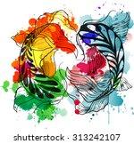 color splash yin yang symbol... | Shutterstock .eps vector #313242107