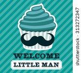 blue baby shower greeting card...   Shutterstock .eps vector #313272347