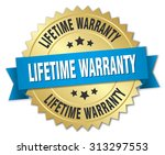 lifetime warranty 3d gold badge ... | Shutterstock .eps vector #313297553