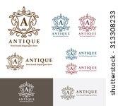antique crest letter a logo.... | Shutterstock .eps vector #313308233
