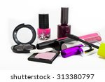 makeup collection on white... | Shutterstock . vector #313380797